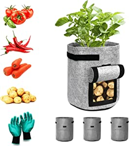 Vegetable/Flower/Plant Grow Bags,3 Pack 5 Gallon Plant Grow Bags with Handles and 1 Pair Garden Gloves ;Plant Pots with Handle