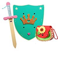 HERALDUM Espada y Escudo para Niñas de Madera con Bolsito ,Armas de Juguete para Niños.