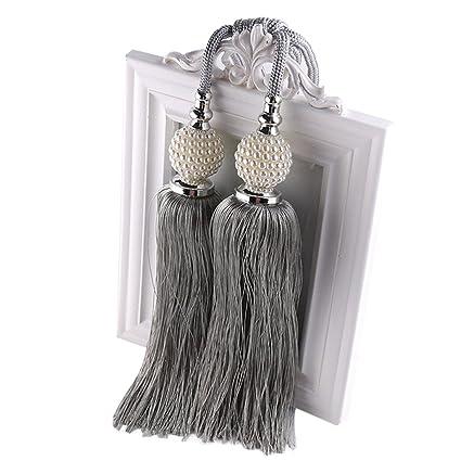 Freahap 2 Piezas Abrazaderas Cortinas con Doble Borlas y Perlas para Sujetar Cortinas Gris