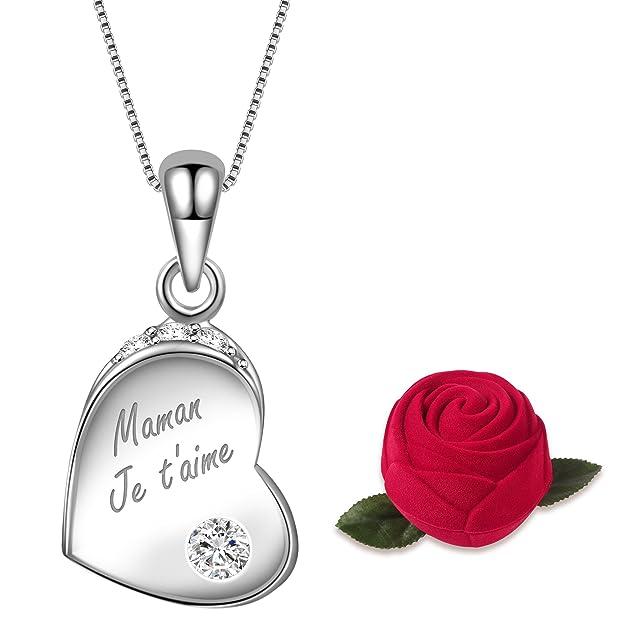 Dawanza-Cadeau Fête des Mères-Collier Femme en Argent 925 Gravé Maman,Je t