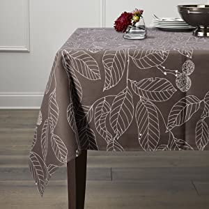 "Lamberia Tablecloth Heavyweight Vintage Burlap Cotton Tablecloths for Rectangle Tables (52""x 70"", Brown Leaves)"