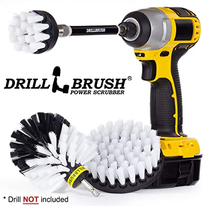 Drillbrush Car Washing and Detailing Power Brush Kit with Long-Reach  Removable Extension  Auto Care Set Includes Three Different Size,  Replaceable