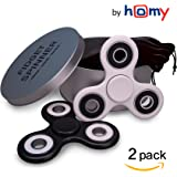 [2-Pack] Tri Fidget Spinner Pocket Toy Prime Set with High Speed Ceramic Bearings Si3N4. Finger Figit Best Hand Stress Reduce for Kids Adult, Relief ADHD, EDC, Autism, Black/White, 2 Pouches by Homy