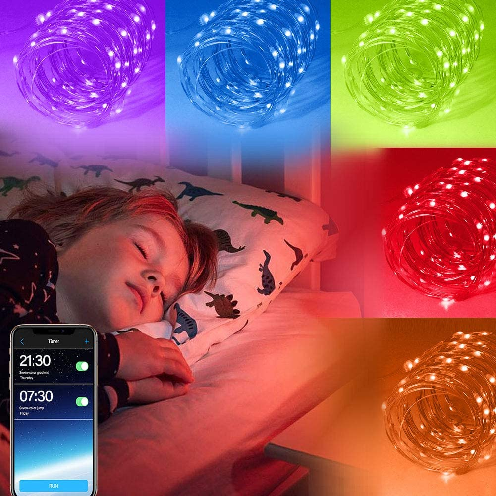 Bluetooth Led Fairy String Lights USB Starry Light String Music Waterproof Copper Wire Decorations Lights 32.8ft
