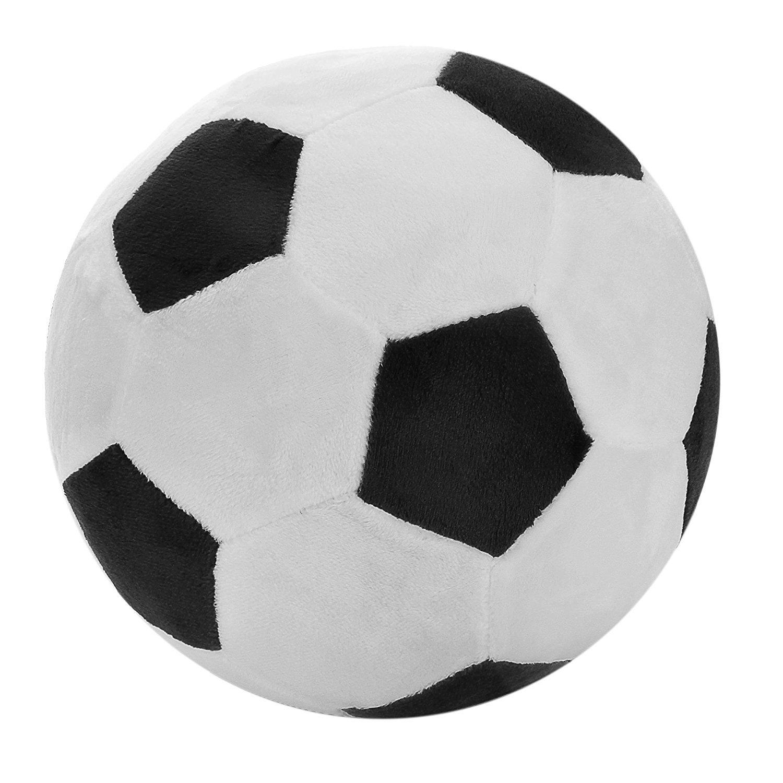 Tplay Soccer Ball Pillow Stuffed Fluffy Plush Baby Soccer Ball Soft Durable Soccer Sports Toy Gift For Kids, 13'' L X 13'' W X 13'' H, Black