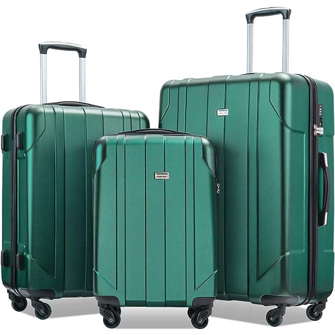 Amazon.com: Merax - Juego de maletas con cerraduras TSA, 3 ...