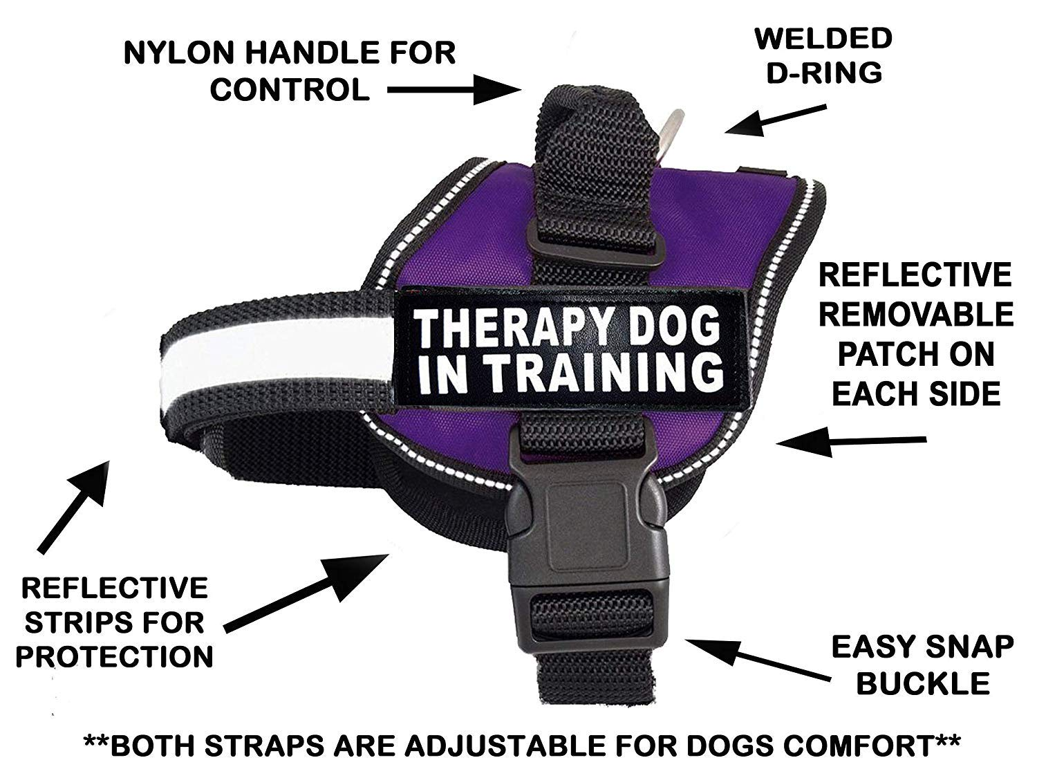 Therapy Dog in Training Nylon Dog Vest Harness. Purchase Comes with 2 Reflective Therapy Dog in Training Velcro pathces. Please Measure Your Dog Before Ordering