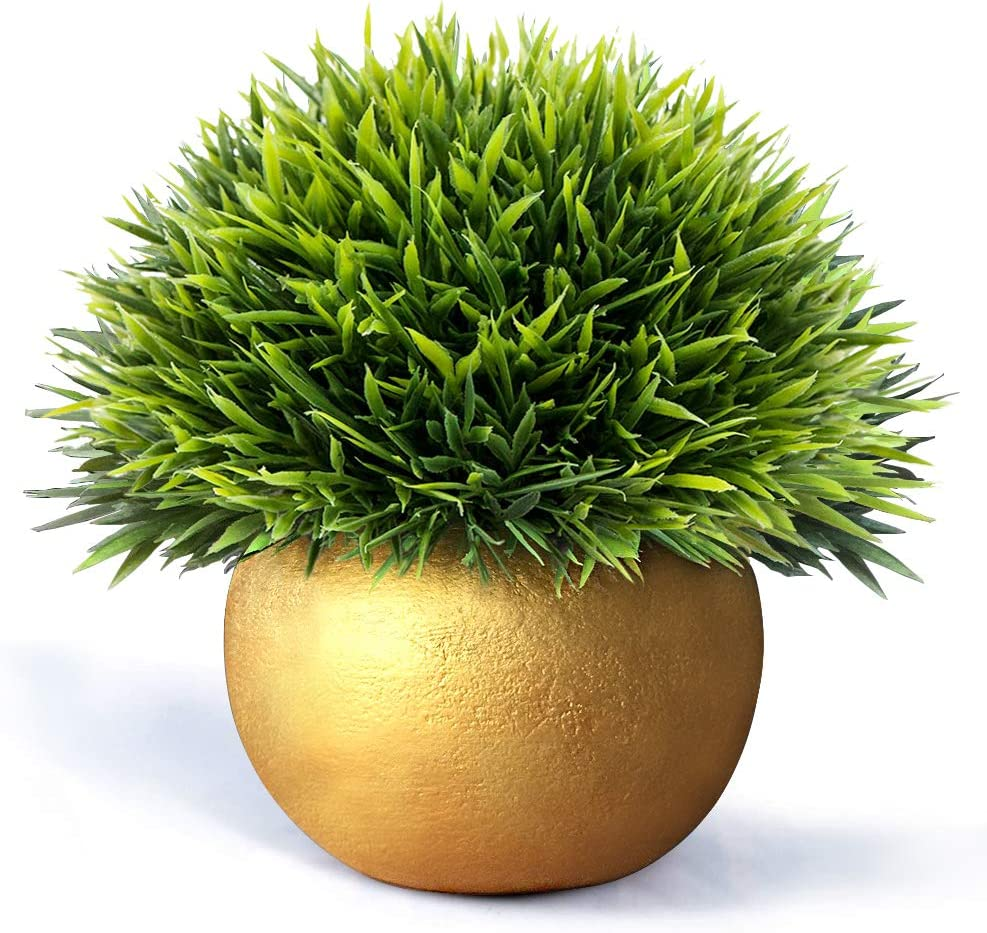 Vangold Lifelike Artificial Plants Plastic Grass Plants with Pots for Home/Office Decor (Gold-1pcs)