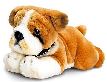 Keel Toys peluche perro bulldog, peluche tumbado aprox. 30 cm