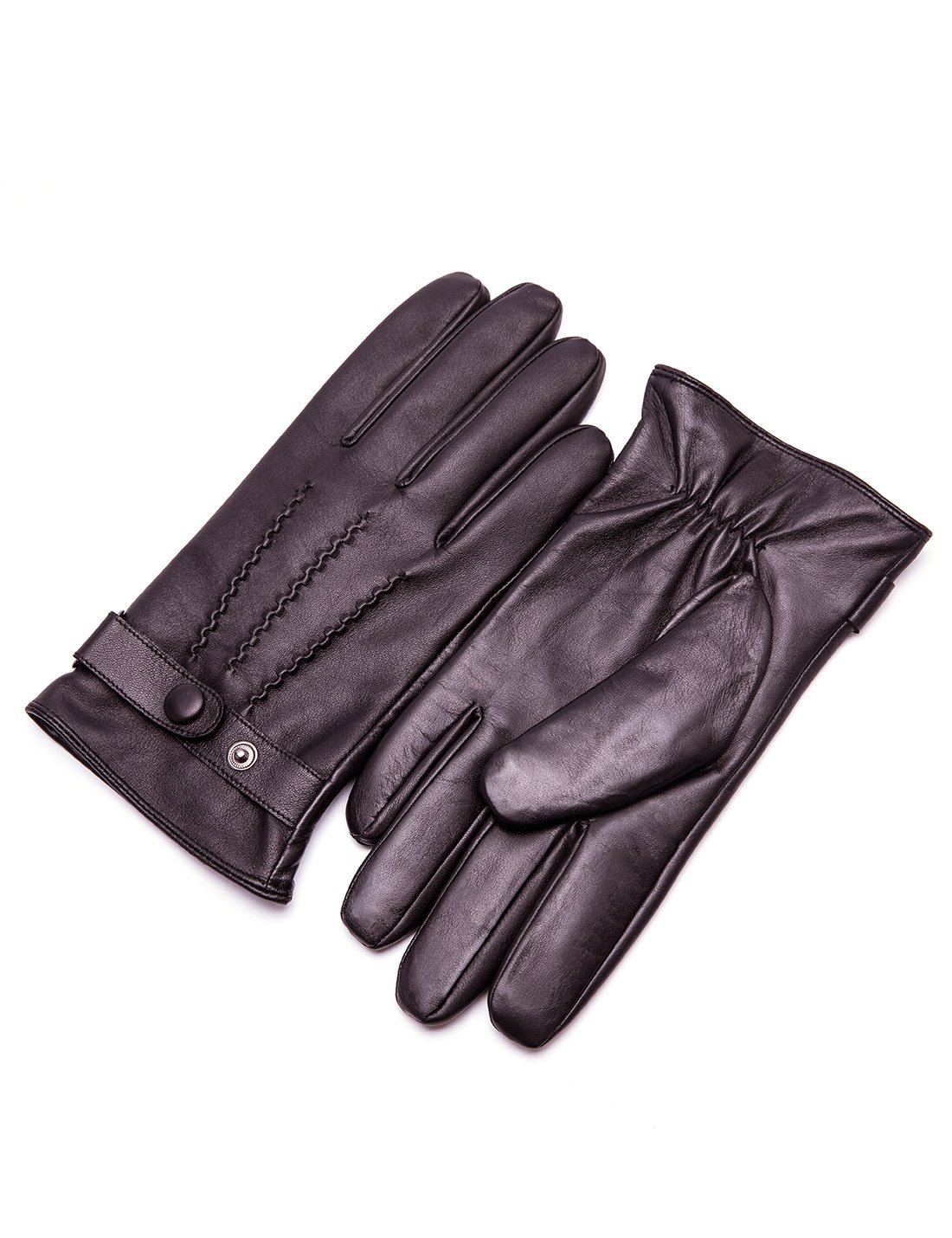 YISEVEN Men's Lambskin Leather Gloves Three Points Fleece Lined Luxury Slim and Real Natural Hand Real Natural Warm Fur Heated Lining for Winter Dress Driving Motorcycle Work Xmas Gifts, Brown 8.5''/S