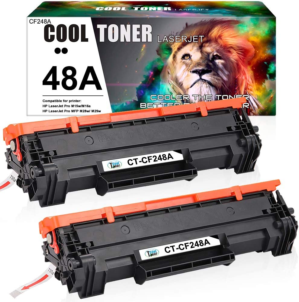 Cool Toner Compatible Toner Cartridge Replacement for HP 48A CF248A HP Laserjet Pro M15w MFP M29w M28w Laserjet Pro M15a M28a M29w M29a M16w M16a M15w Toner Cartridge Printer Ink (Black, 2-Pack)
