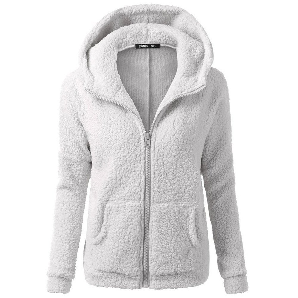 CCOOfhhc Womens Winter Warm Hooded Sweater Coat Full Zip up Basic Solid Fuzzy Wool Cotton Jacket Outwear with Pocket