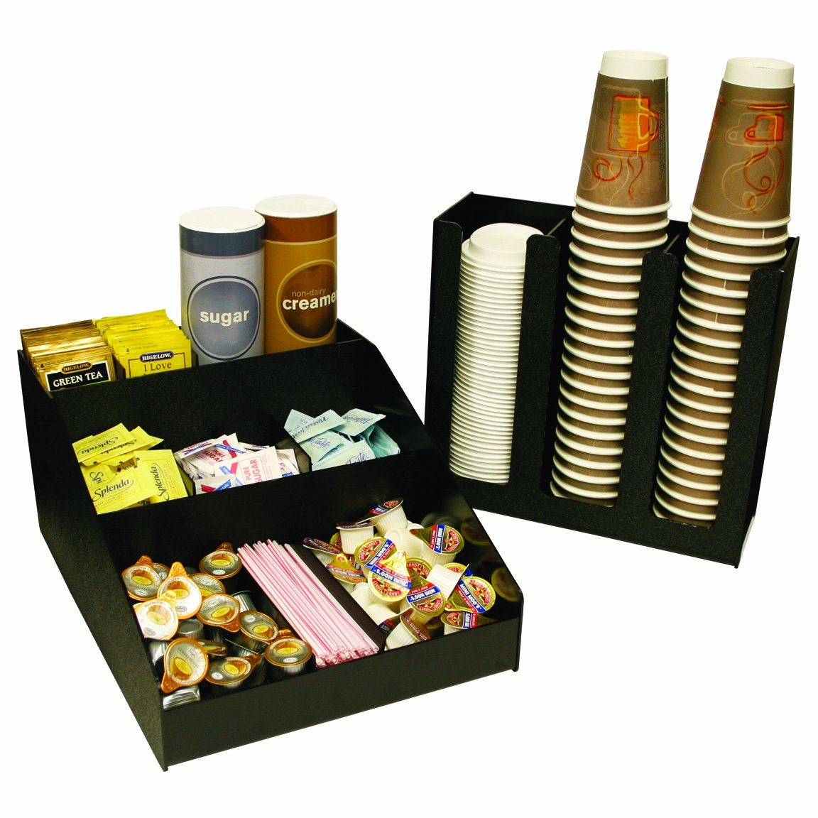 2 Piece Combo. 12'' Wide x 16'' D. Coffee or Condiments Organizer & a 3 Column Cup and or Lid Holder...for One Great price ! Movable Shelf Dividers Allow You to Make your Own Size Compartments.. Great for Breakrooms & Lobbies. Proudly Made in the USA by PPM