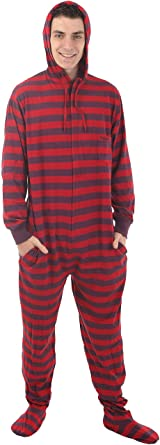 304b733ffd Funzee Footed Pajamas Adult Onesie Romper PJs Jumpsuit - Size on Height  (Small) Red