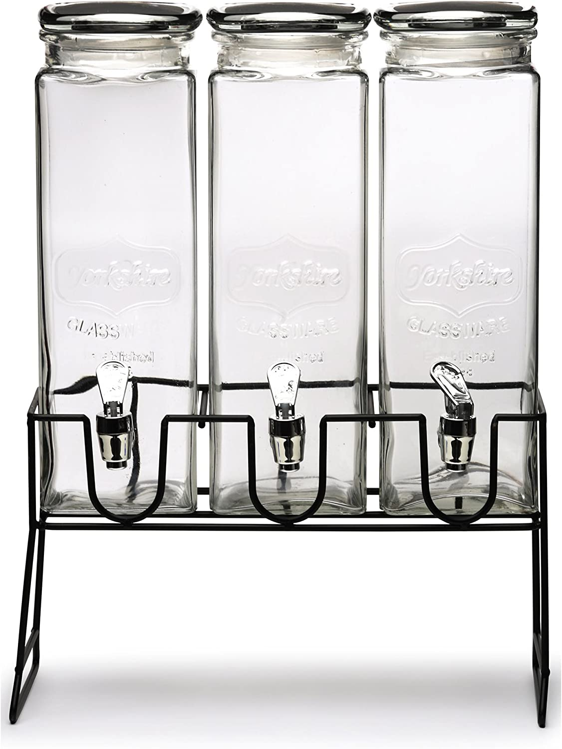Circleware Triple XL Tall Yorkshire Beverage Drink Dispensers Lids and Black Metal Stand, 2.3 L, Clear