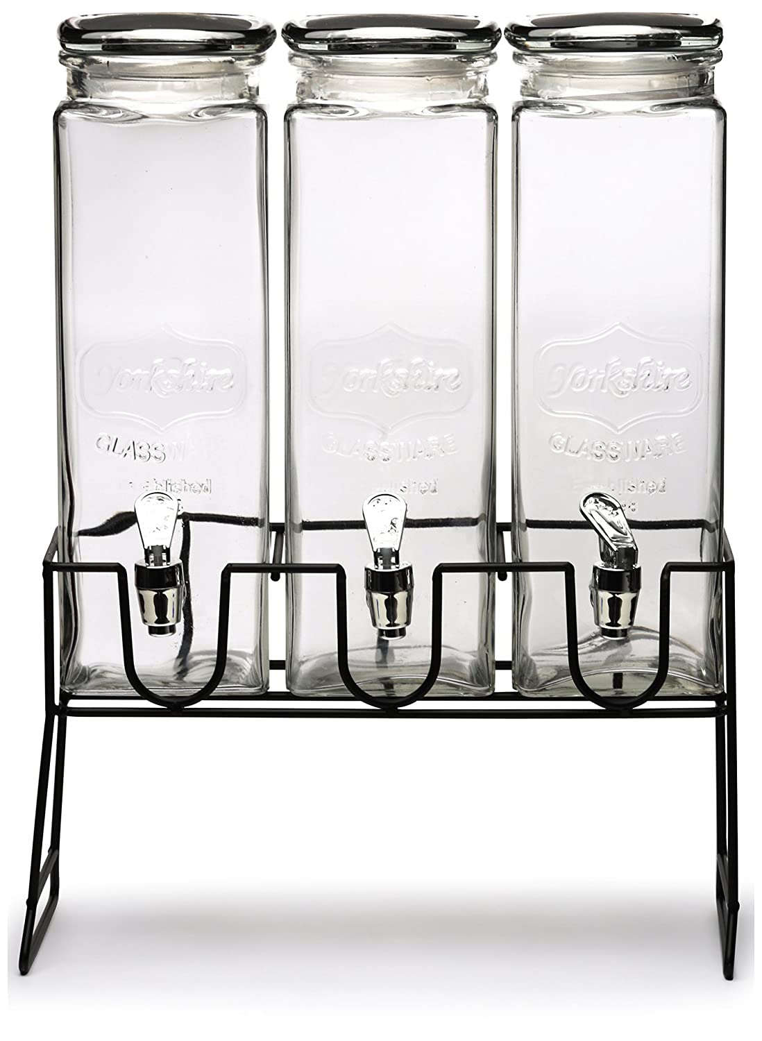 Circleware Triple XL Tall Yorkshire Beverage Drink Dispensers with Black Lids and Black Metal Stand, 2.3 L, Clear