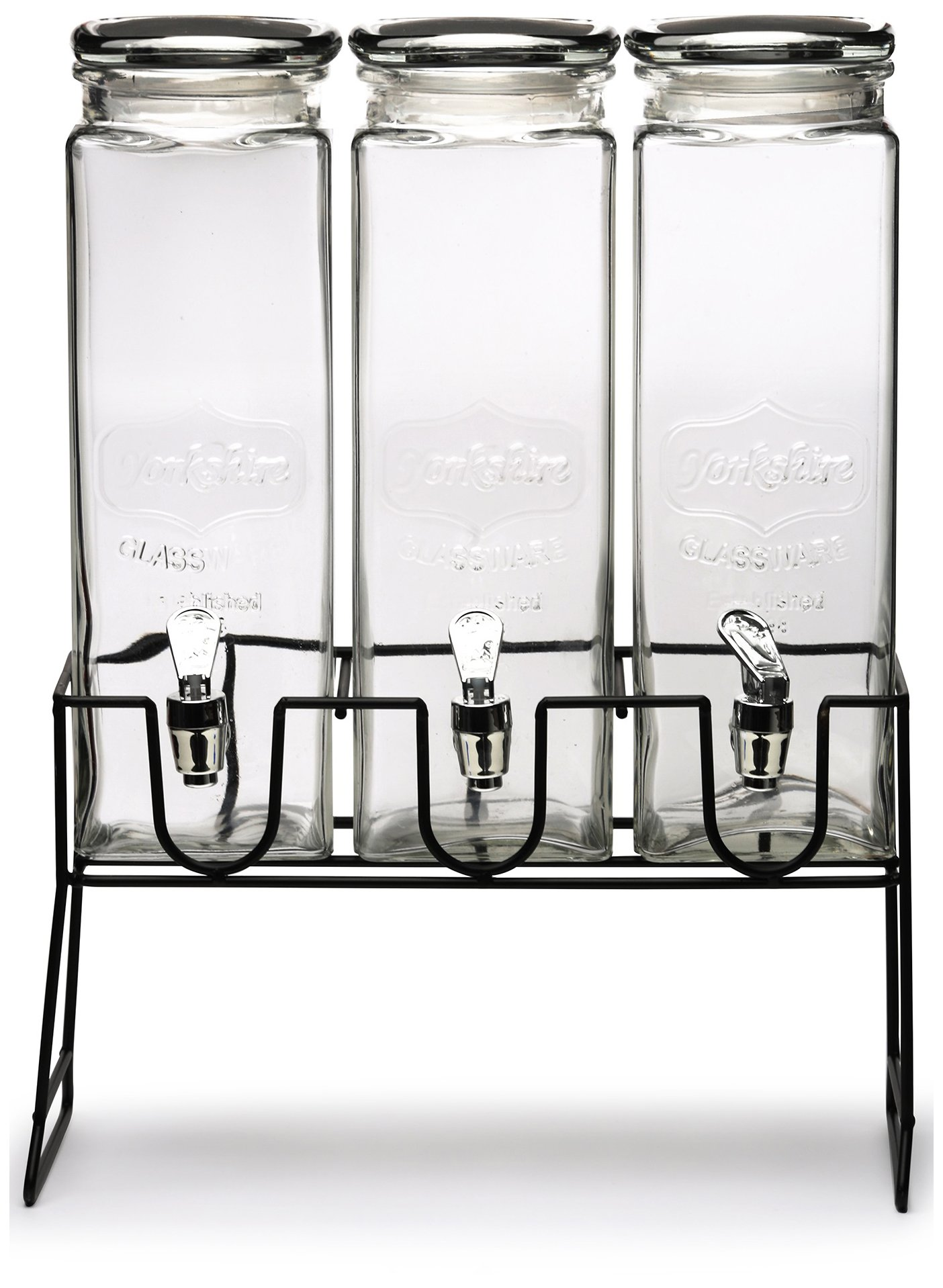 Circleware 69106 Triple XL Tall Yorkshire Beverage Drink Dispensers Lids and Black Metal Stand, 2.3 L, Clear by Circleware