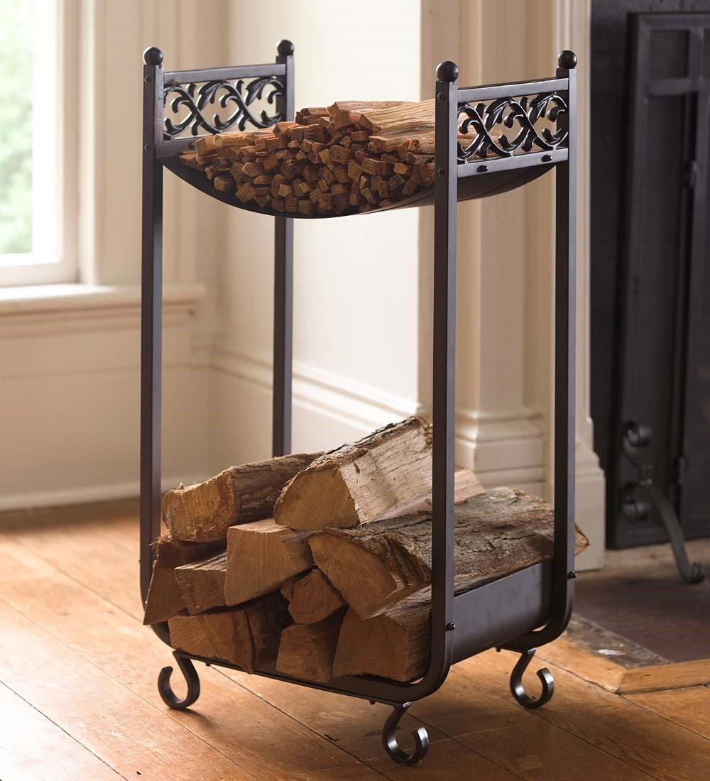 Compact Log Rack, Cast Iron with Scrollwork Design, in Black Plow & Hearth®