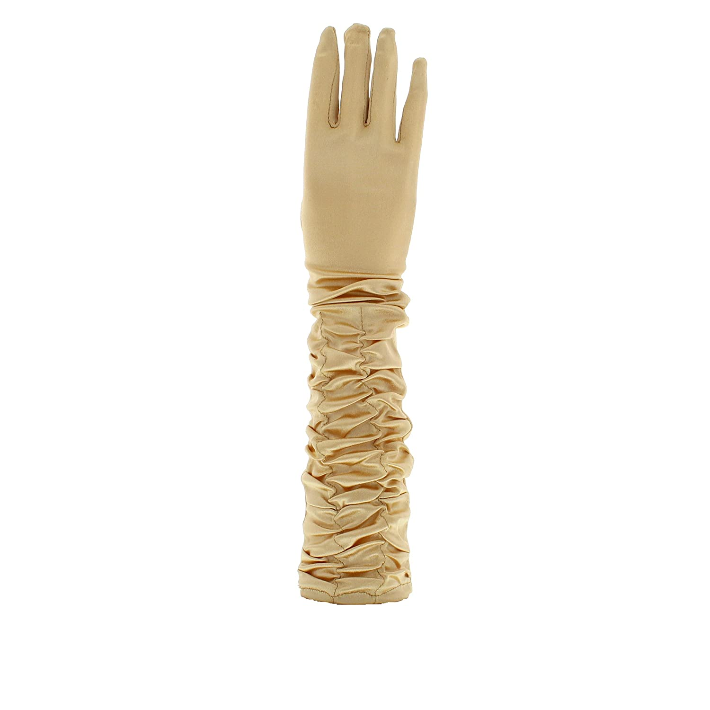 Zac's Alter Ego Women's Long Ruched Satin Gloves Fancy Dress Formal