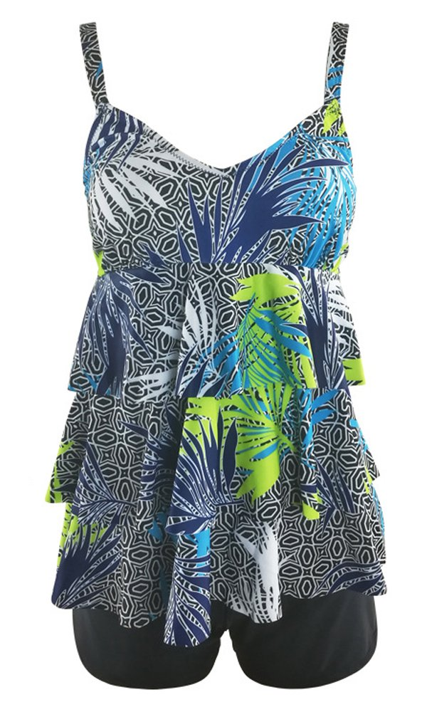 Ecupper Womens 2 Piece Tankini Sets Ruffled Flounce Swimsuits with Boyshorts