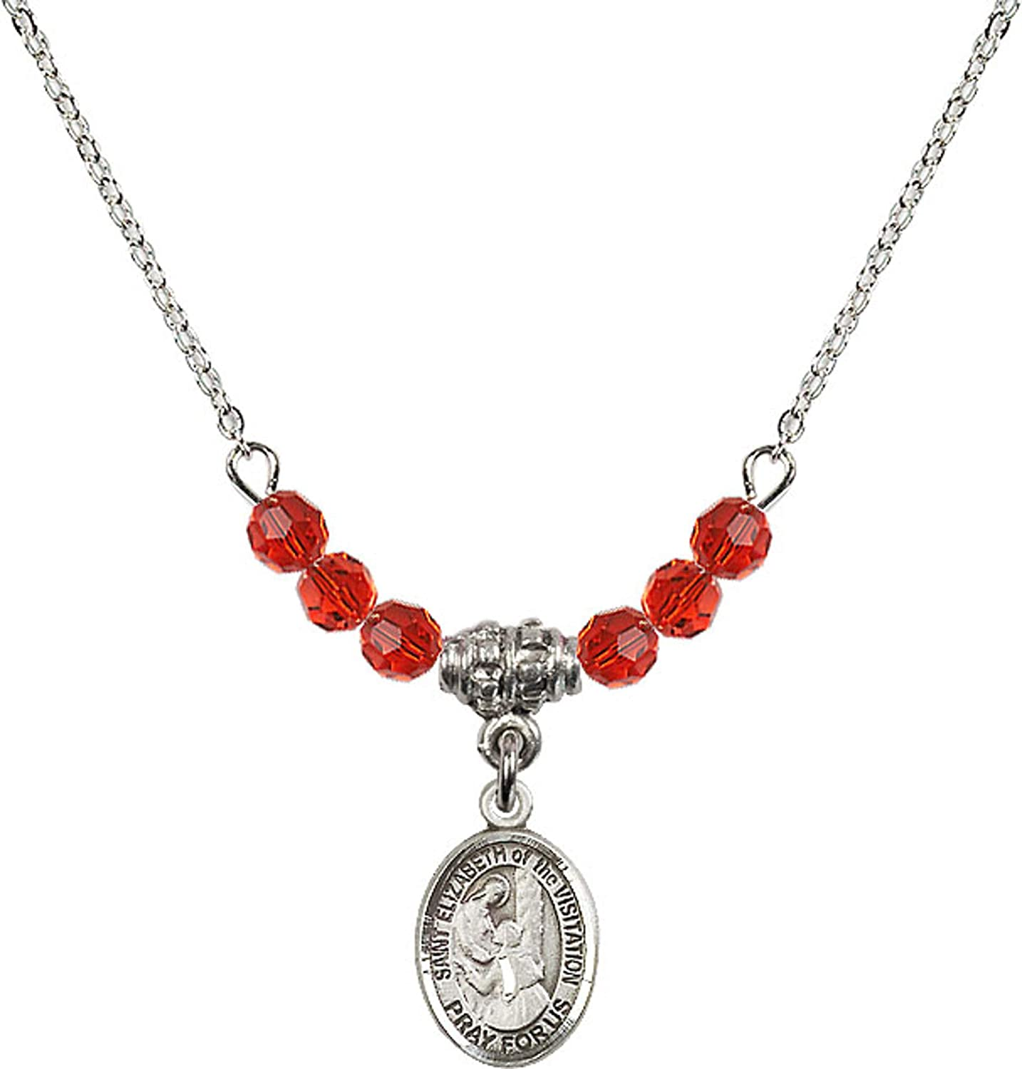 Bonyak Jewelry 18 Inch Rhodium Plated Necklace w// 4mm Red July Birth Month Stone Beads and Saint Elizabeth of The Visitation Charm