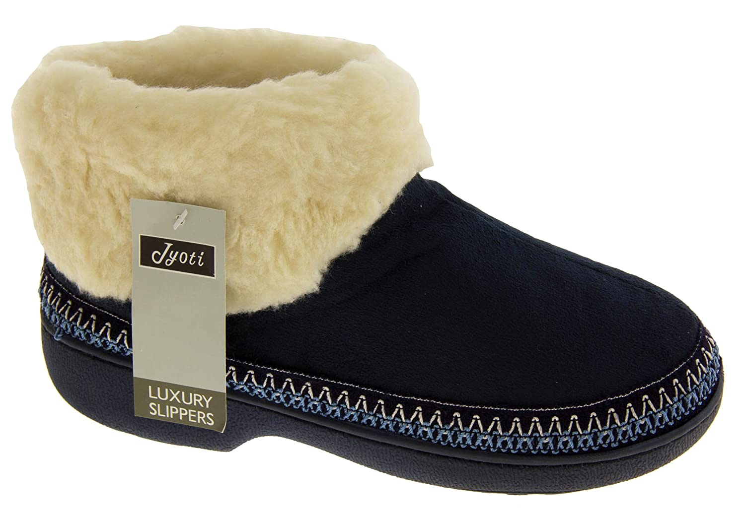 Footwear Studio New Ladies Warm Lined Outdoor Sole Slipper Boots Slippers Boot Size 3 4 5 6 7 8