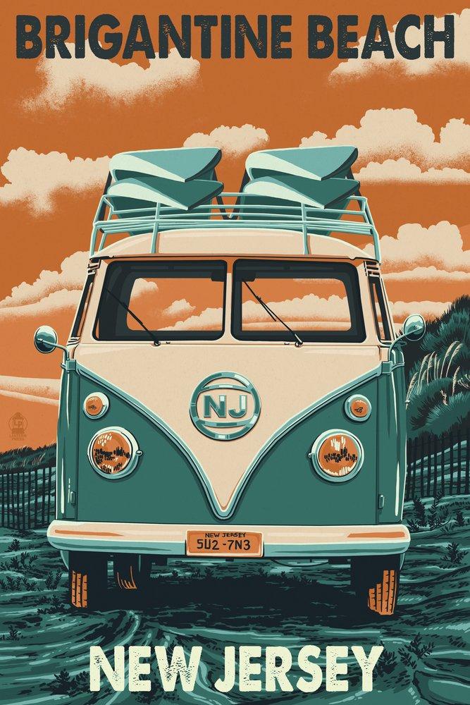 【代引可】 Brigantine Jersey Beach, New Print Jersey - VW Van Letterpress Press (12x18 Art Print, Wall Decor Travel Poster) by Lantern Press B07B2DJFPY 24 x 36 Signed Art Print 24 x 36 Signed Art Print, ハンコワークス:fbc46e54 --- lazypandafilms.com
