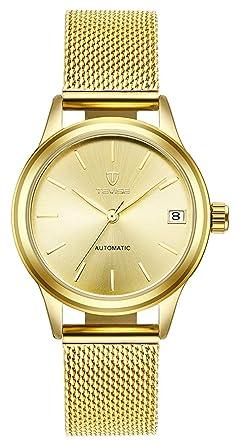 Amazon.com: Reloj de pulsera automático para mujer, de acero ...