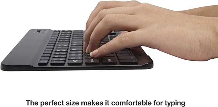 SlimKeys Bluetooth Keyboard BoxWave Portable Keyboard with Integrated Commands for PartnerTech EM-100 PartnerTech EM-100 Keyboard Jet Black