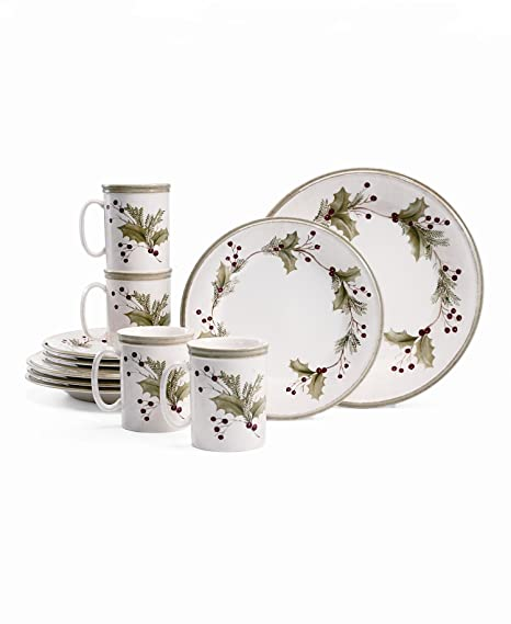 Christmas Tablescape Decor - Lenox Holiday Gathering Berry 12- Piece Dinnerware Set