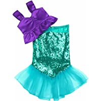 iEFiEL Kids Girls Shiny Sequins Mermaid Tails Party Holiday Costume Outfits Top+Skirt