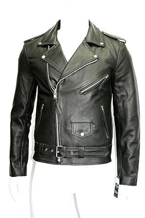 Botts And Leather Hombre Chaqueta de Moto de Cuero de Brando Moto Negro Vaca Real Hide