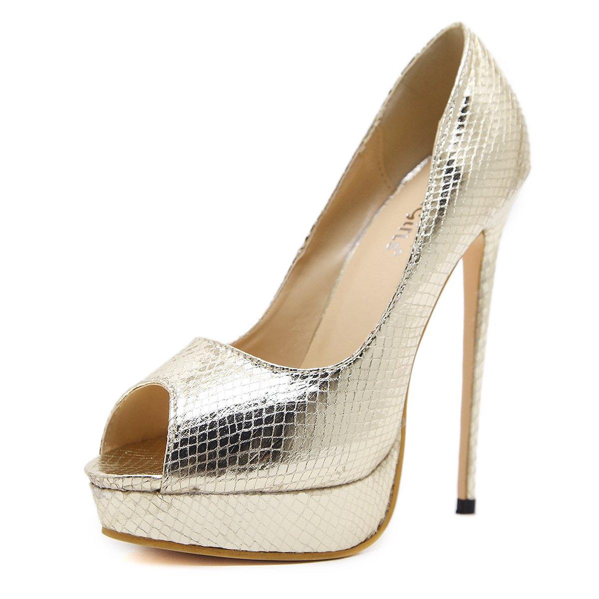 ZHZNVX Die Stilvolle High-Heel Schuhe Stilvolle Snakeskin Sexy Fisch Mund Schuhe mit Hohen Absätzen Gold 39