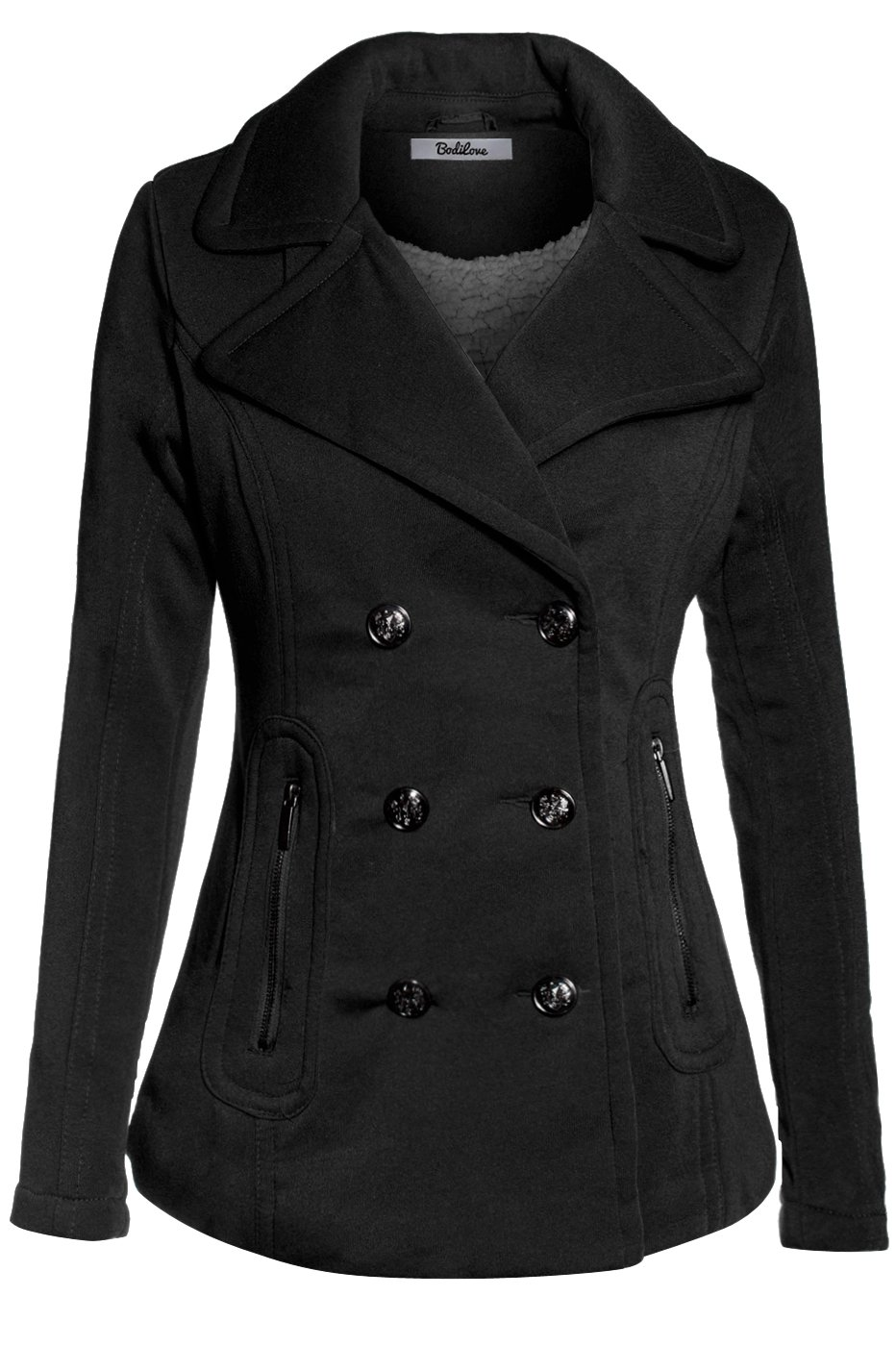 BodiLove Women's Stylish and Warm Peacoat with Sherpa Lining Black L by BodiLove