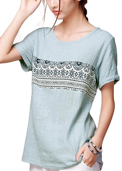 af8328f8d31 ASHER FASHION Women Summer Casual T Shirt Short Sleeve Linen Cotton Tunic  Tops US XS=