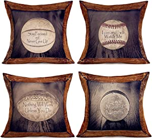 Royalours Sofa DecorInspirational Quote Throw Pillow Cases Vintage Football Rugby FootballSoftball Pattern Decorative Farmhouse Pillow Cover Cushion Cover Set of 4 for Bedroom (Ball Set, 18