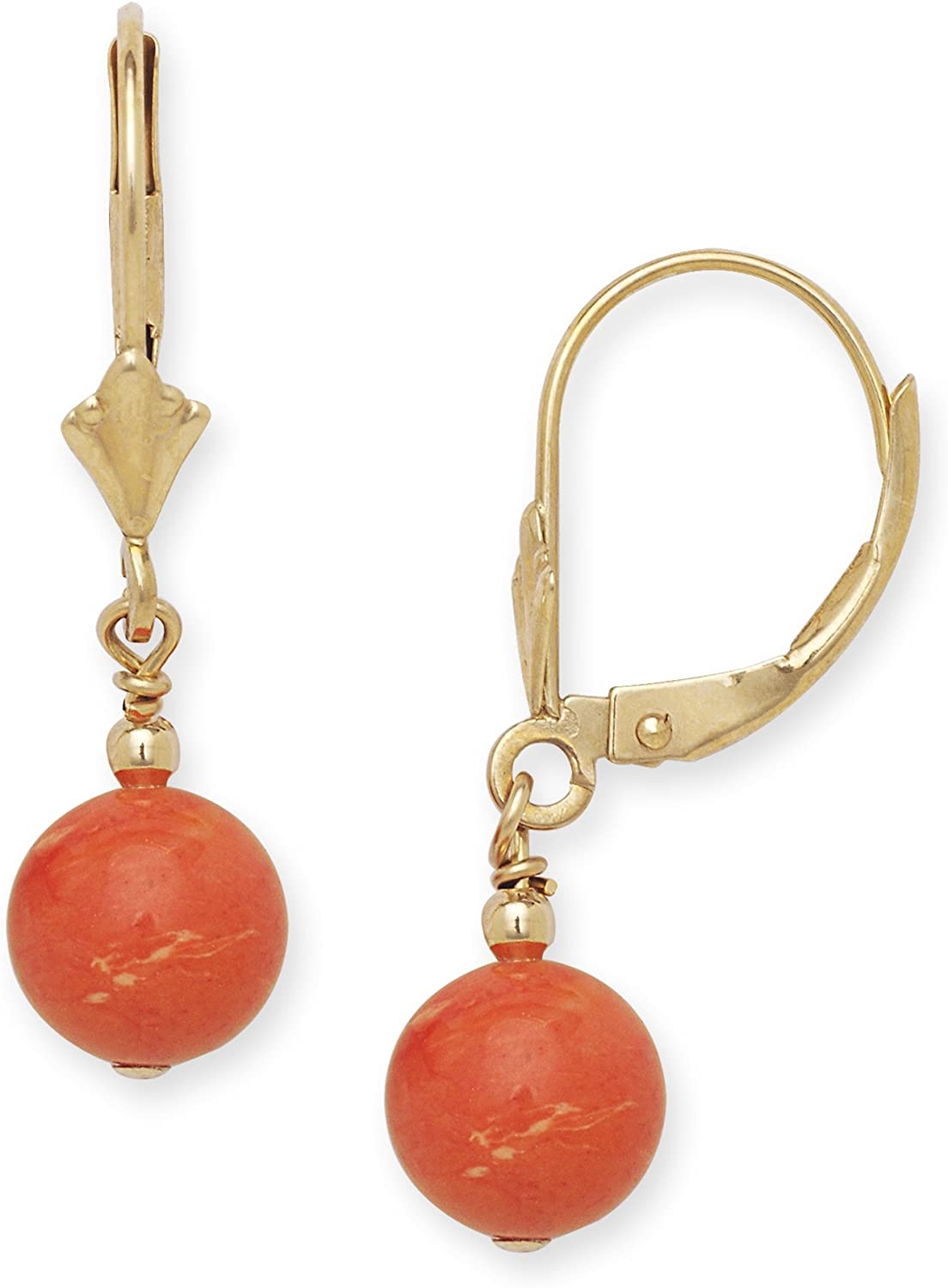 14k Yellow Gold Red 7x7mm Created Simulated Coral Ball Drop Leverback Earrings Measures 27x7mm Jewelry Gifts for Women