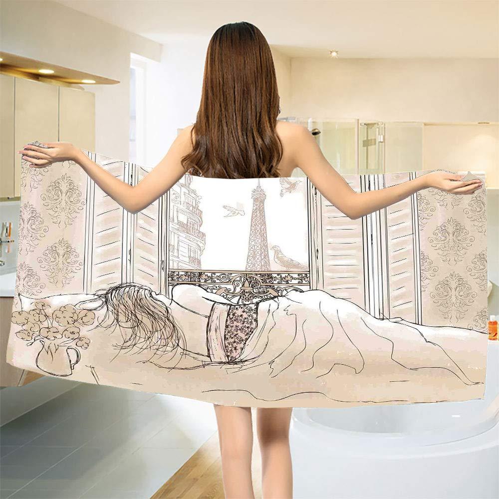 Paris Bath Towel Parisian Woman Sleeping with The View of Eiffiel Tower from Window Romance Skecthy Modern Bathroom Towels Cream Size: W 27.5'' x L 64''