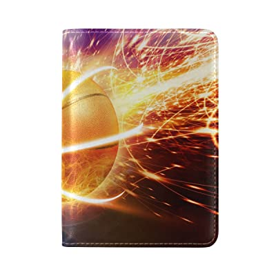 ALAZA Abstract Sport Basketball Leather Passport Holder Cover Case Travel One Pocket