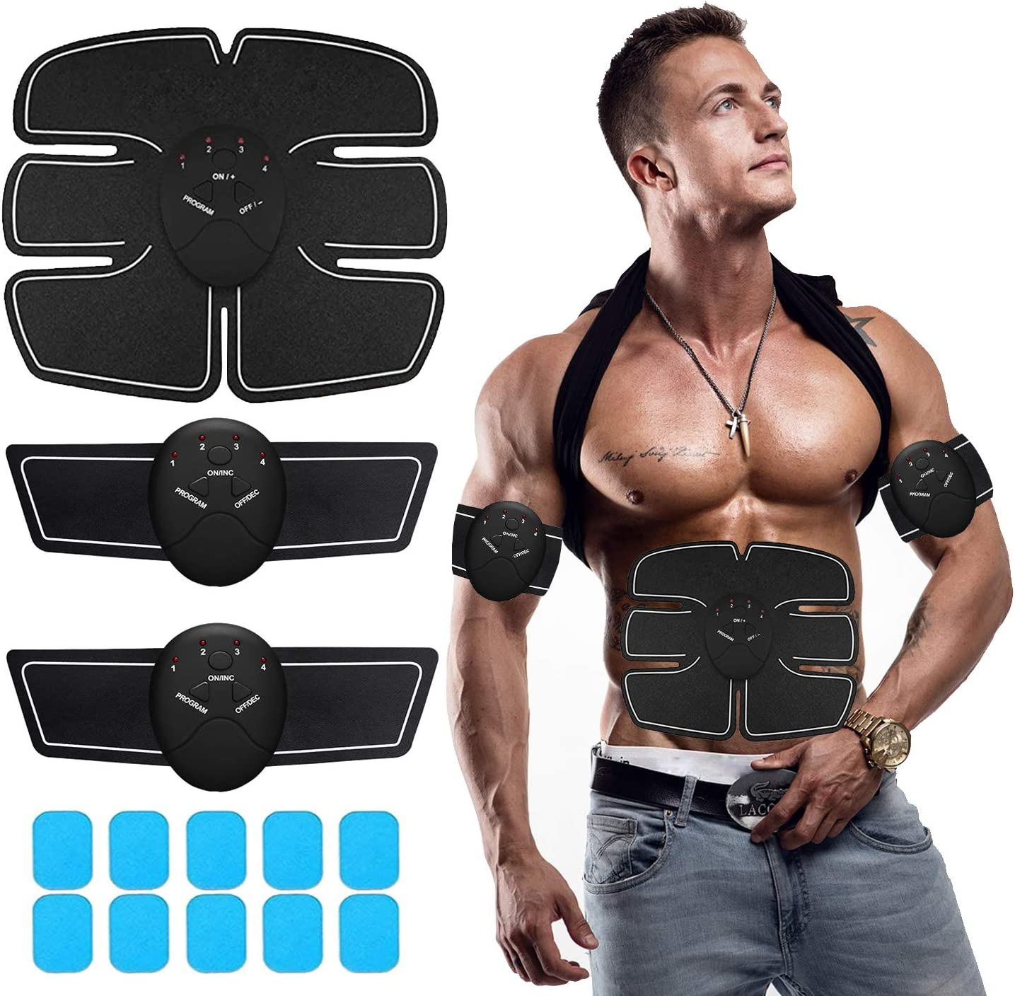BlueWish Abs Stimulating Belt- Abdominal Toner-Training Device for Muscles- Wireless Portable to-Go Gym Device- Muscle Sculpting at Home - Fitness Equipment for at -Home Workouts