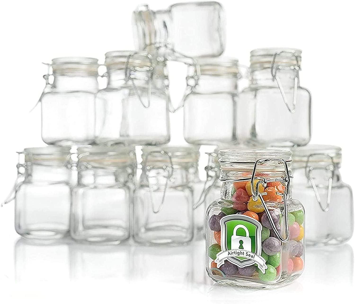 4 oz CLEAR Square GLASS JARS Bottles with Lids Wedding Party Gift Favors Holders
