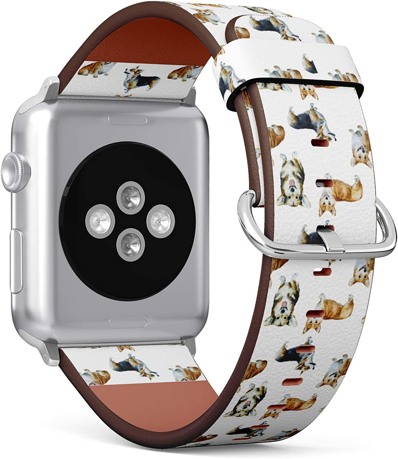Cute Corgi Dog Pattern - Patterned Leather Wristband Strap Compatible with Apple Watch Series 4/3/2/1 38mm/40mm