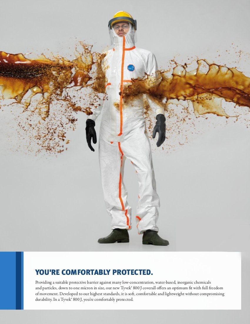 DuPont Tyvek 800J TJ198T Chemical Protective Coverall Suit, CE Certified, Cat III, Type 3/4/5/6, Sealed Bag, 4X-Large, White by DuPont (Image #2)