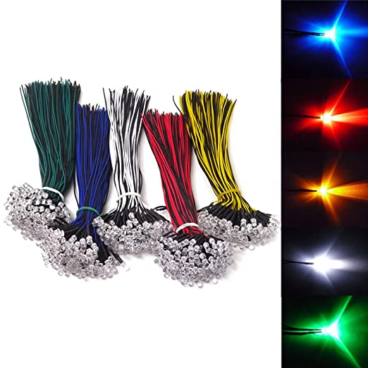10x LED 5mm Blue Wired 12v blue LEDs with Cable Blue W Cable 5 MM