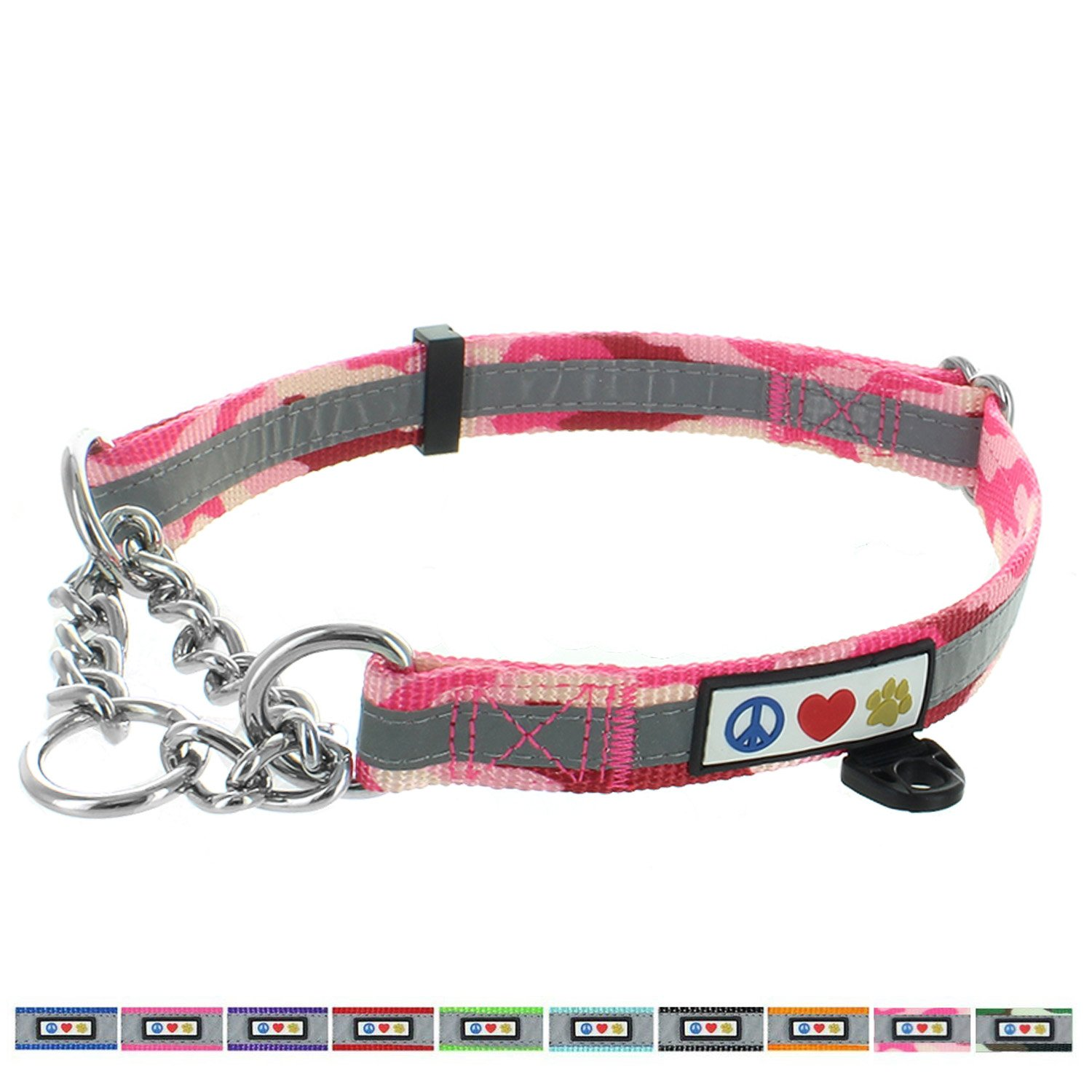 Pawtitas Obedience Training Collar Reflective Martingale Chain Dog Collar, Premium Quality, Obedience collar, dog chain, No Pull Dog Collar for Training, Half-Check Dog Collar Medium Pink Camouflage