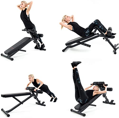 Vanswe Adjustable Ab Bench Multi-Workout Hyper Back Extension Abdominal Sit Up Bench Weight Bench with Flat Decline Sit Up for Commercial and Home Use
