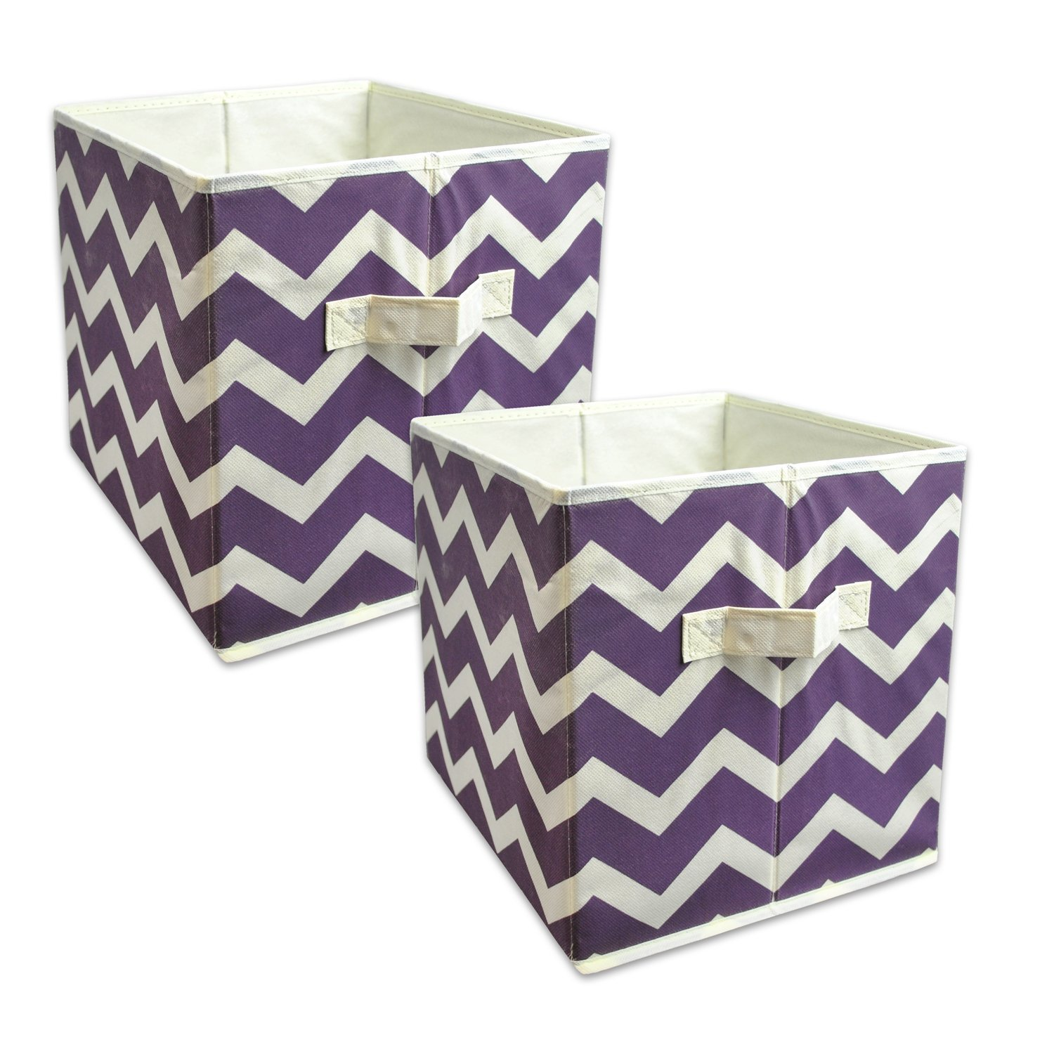 Sino Banyan Foldable Fabric Storage Containers cube organizers,everyday Storage Needs,Chevron Purple - Set of 2