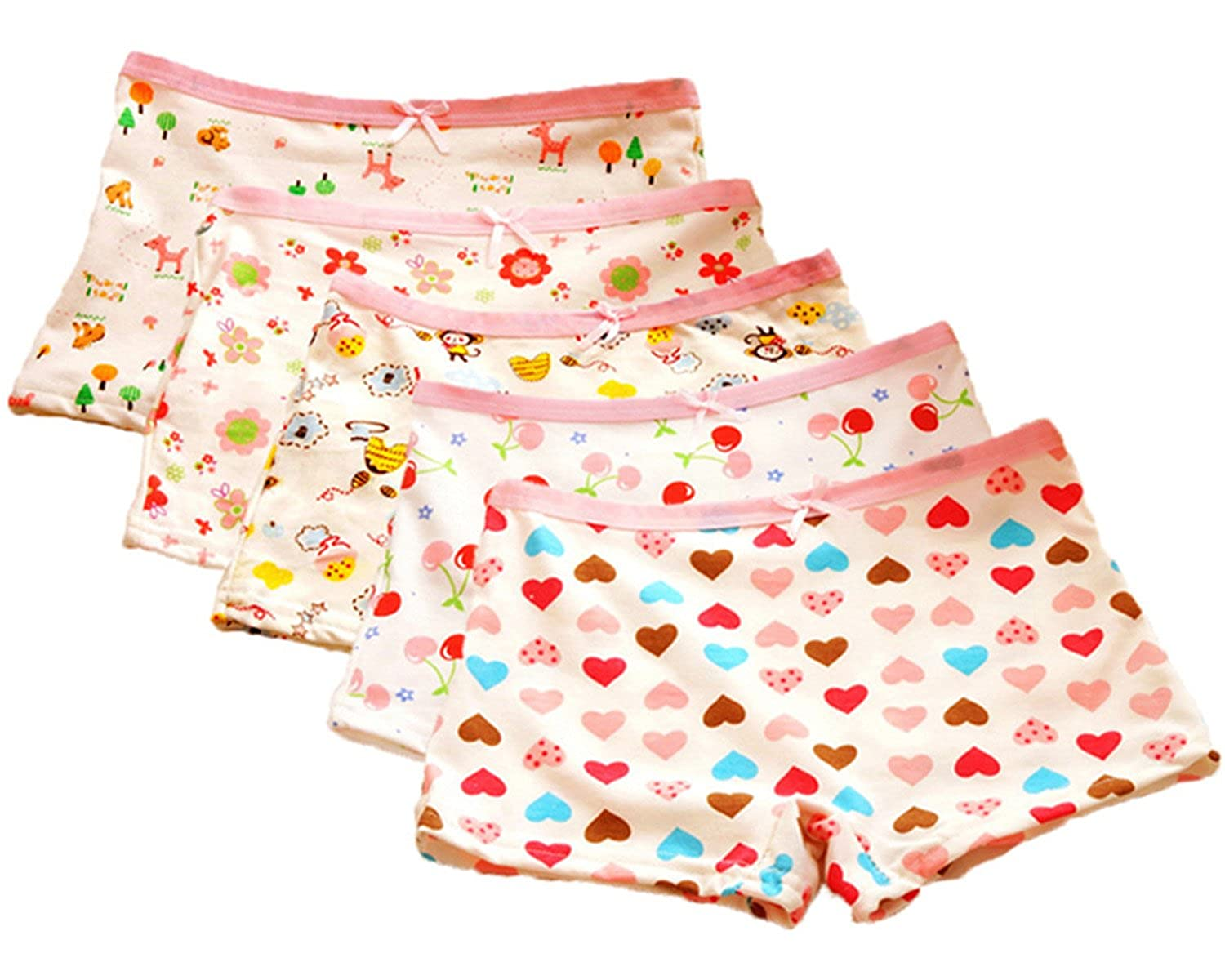 Little Girls Kids Baby Toddler 4Pcs Cartoon Bear Flower Boyshort Underwear Boxers Briefs Panties