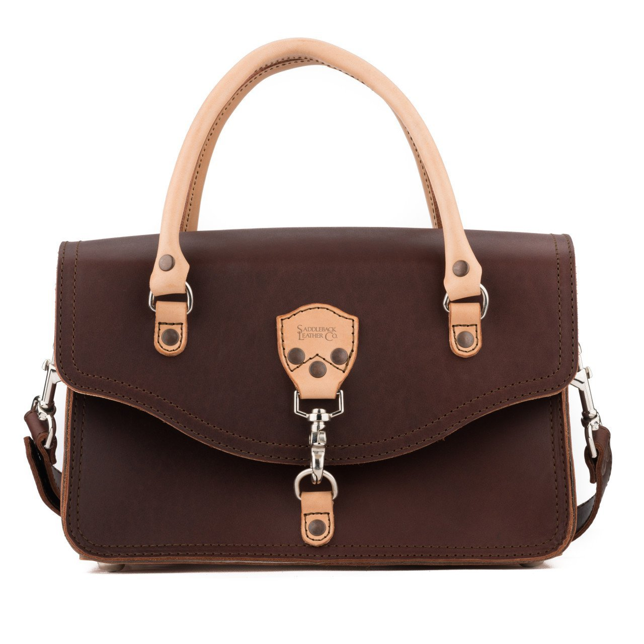 Saddleback Leather Satchel Purse - A Structured Satchel Bag Ladies Can Take Anywhere - 100 Year Warranty
