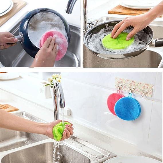 Silicona esponja, antimoho, antibacteriana de calidad alimentaria Dish Cepillo Multiusos Magic Lavado Esponja Depurador y resistente al calor cocina 7 ...
